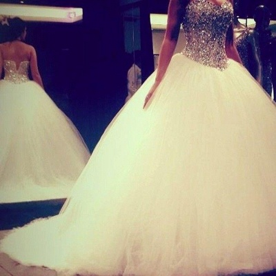 Shiny Crystals Sweetheart  Wedding Dress with Puffy Tulle Skirt Bridal Ball Gowns_4