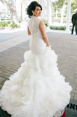 Lace Mermaid High Collar Plus Size Wedding Dress Tiers Organza Vestido De Noiva Bridal Gown CE0117_5