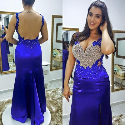 Royal Blue Crystal Mermaid  Evening Gown Sexy V-Neck Beading Open Back Party Dress_3