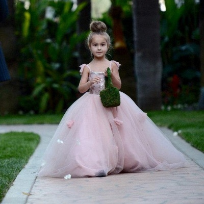 Cute Pink Tulle Flower Girl Dress New Arrival Long Children Dresses BA1419_5