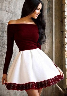 Simple Short Off-the-Shoulder Homecoming Dresses   Long Sleeves Lace  Hoco Dresses_3