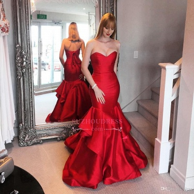 Sweep-trian Mermaid Sweetheart Red Lace-up Tired Evening Dress BA5264_1