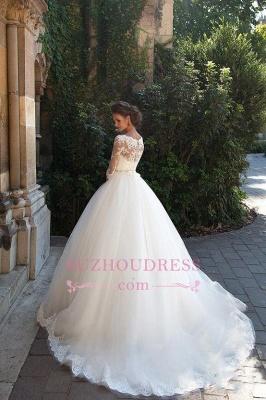 Princess Lace Half Sleeves Elegant  Ball Gown Wedding Dresses BA3678_4