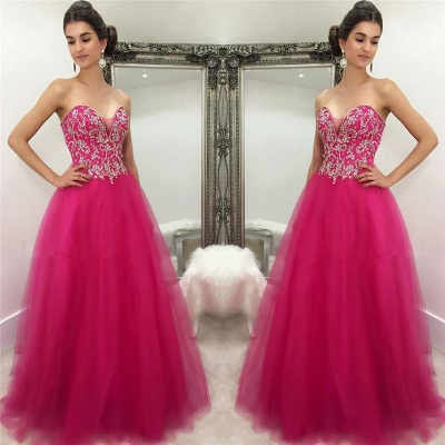 Sweetheart Hot Pink  Prom Dresses Sexy Sleeveless Tulle Beads Sequins Fuchsia Evening Gown_3