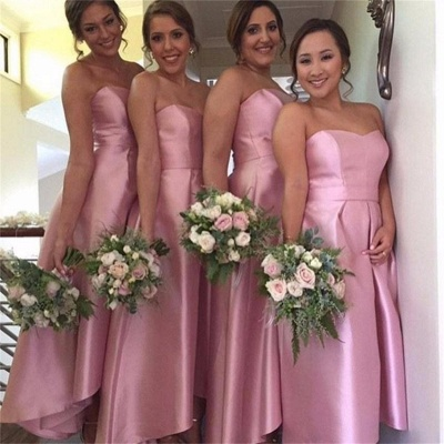 Pink Hi-Lo Party Dresses for Maid of Honor Sweetheart  Bridesmaid Dress_3