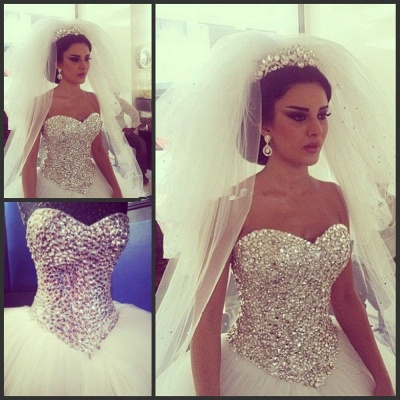 Shiny Crystals Sweetheart  Wedding Dress with Puffy Tulle Skirt Bridal Ball Gowns_3