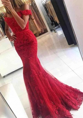 Glamorous Mermaid Lace Prom Dress  Off-the-shoulder Red Appliques Evening Dress_1