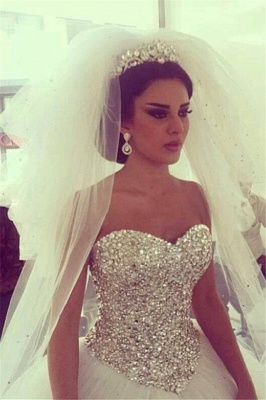 Shiny Crystals Sweetheart  Wedding Dress with Puffy Tulle Skirt Bridal Ball Gowns_1