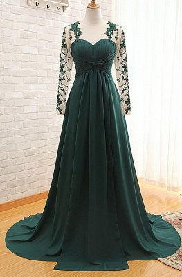 Sheer Dark Green Long Sleeves Sweetheart Prom Gowns  Empire Ruffle Evening Dresses_1