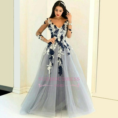 Navy and White Appliques Long Sleeve Formal Dresses Lace Popular Sheer V-neck Prom Dresses_1