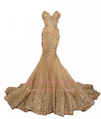 Mermaid Long Evening Gown Gold Lace Appliques Gold Lace-Up Sweetheart  Prom Dresses LY173_1