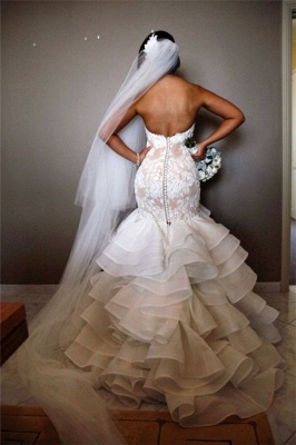 Elegant Lace  Mermaid Wedding Dress Tiered Open Back Strapless Wedding Gowns BA1540_3