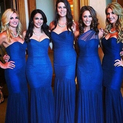 Sexy Royal Blue Mermaid Bridesmaid Dress Sleeve Ruched Plus Size Wedding Dress_3