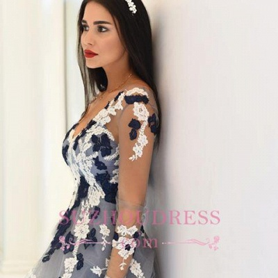 Navy and White Appliques Long Sleeve Formal Dresses Lace Popular Sheer V-neck Prom Dresses_4