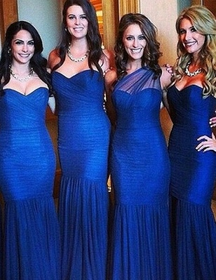 Sexy Royal Blue Mermaid Bridesmaid Dress Sleeve Ruched Plus Size Wedding Dress_1