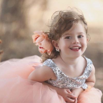 Tulle Cute Sequined  Flower Girl Dresses Lovely Sequined Girls Pageant Dress BA0657_3