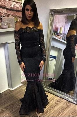 Elegant Off-shoulder Long Sleeves Evening Dresses | Black Lace Mermaid Prom Dress_3