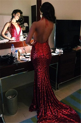 Deep V-neck Red Sequins Prom Dresses Halter Sexy  Backless Evening Gowns BA4155_2
