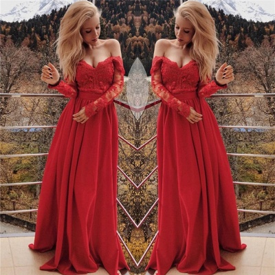 Sexy Off The Shoulder Prom Dresses  Long Sleeve Red Lace  Formal Evening Gown_3