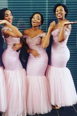 Elegant Sheath Cape Off-the-Shoulder Bridesmaids Dresses | Pink Long Bridesmaid Dresses_1