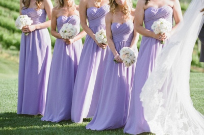 Empire Lavender Chiffon Long Bridesmaid Dress Ruffles  Floor Length Dresses for Wedding_3