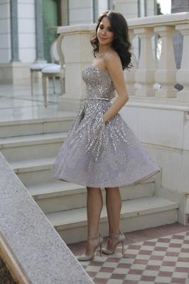 Gorgeous Full Sparkly Beads Knee Length Prom Dress Silver Sequins Organza New Homecoming Dress CJ0371_2