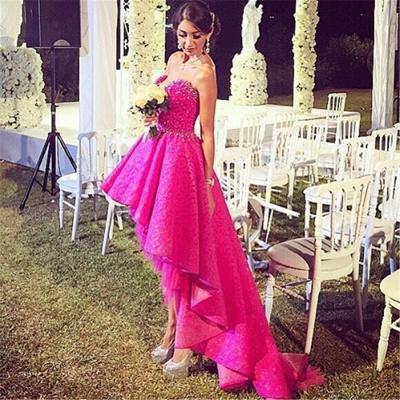 Fuchsia Beaded Lace Hi-lo Formal Evening Dresses V-neck  Homecoming Dresses Online_3
