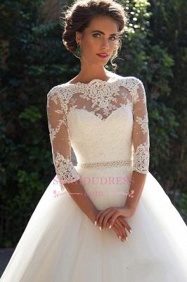 Princess Lace Half Sleeves Elegant  Ball Gown Wedding Dresses BA3678_5