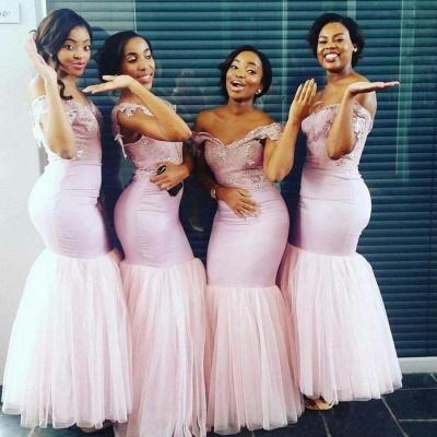 Elegant Sheath Cape Off-the-Shoulder Bridesmaids Dresses | Pink Long Bridesmaid Dresses_3
