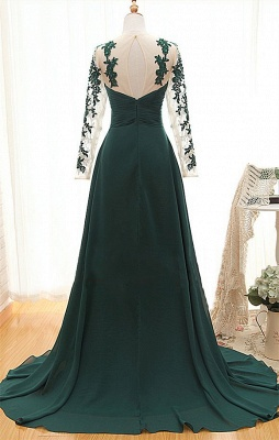 Sheer Dark Green Long Sleeves Sweetheart Prom Gowns  Empire Ruffle Evening Dresses_2