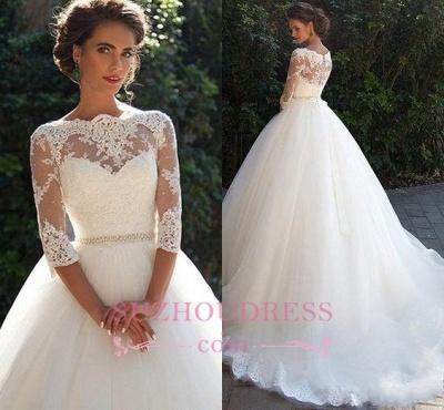 Princess Lace Half Sleeves Elegant  Ball Gown Wedding Dresses BA3678_3
