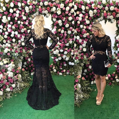 Black Lace Sheath Evening Dresses | Long Sleeves Prom Dresses with Detachable Train_3