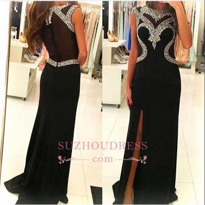 Side Slit Crystal Sheath Black Sleeveless Evening Gown  Glamorous  Prom Dress_1