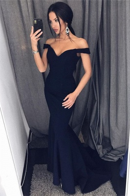 Off The Shoulder Mermaid Sexy Formal Dresses  Sleeveless  Evening Gown_1