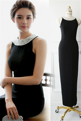 Black Elegant Sexy  Prom Gowns Crystal Floor Length Sleeveless Dresses_1