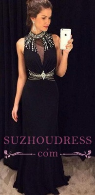 Long Black Crystal Sleeveless Sheath Natural High Neck Prom Dresses_3