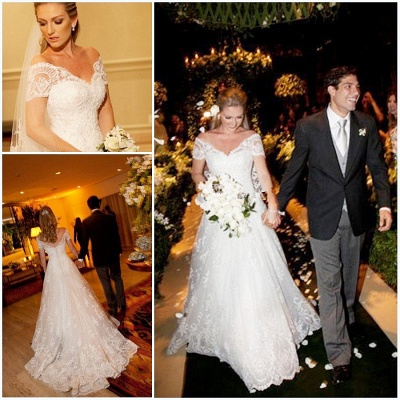 Elegant Short Sleeve White Lace Wedding Dress A-Line Sweep Train  Formal Bridal Gown_3