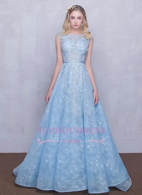 A-line Long Sky Blue Evening Dress  Lace Appliques Sheer Puffy Fairy Prom Dresses_5
