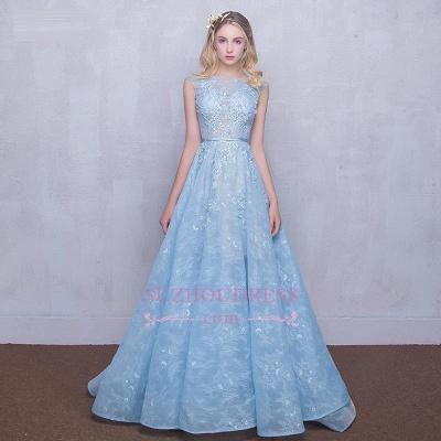 A-line Long Sky Blue Evening Dress  Lace Appliques Sheer Puffy Fairy Prom Dresses_3
