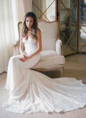 Elegant Mermaid Spaghetti Strapless Bridal Gown Lace Backless Trumpet Court Train Wedding Dress_2