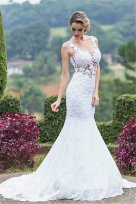 Elegant Mermaid Lace Wedding Dresses  Sleeveless Court Train Hollow-out Bride Dresses_1