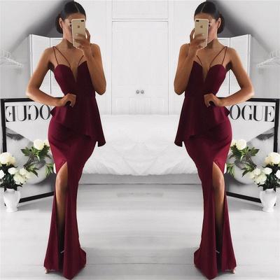 Spaghetti Straps Sexy Burgundy Formal Dresses  Front Slit  Evening Dress_3