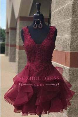 Modest Short Lace Straps Sleeveless Ruffles Homecoming Dress SP0424_2