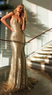 Deep V-neck Open Back Sexy Formal Evening Dresses  Mermaid Sequins Prom Dress BA3586_3