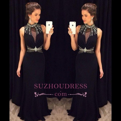 Long Black Crystal Sleeveless Sheath Natural High Neck Prom Dresses_1
