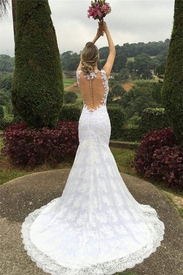 Elegant Mermaid Lace Wedding Dresses  Sleeveless Court Train Hollow-out Bride Dresses_4