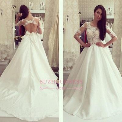 Bow A-line Sweep-train  Half Sleeves Elegant Sweep-train Wedding Dress_4