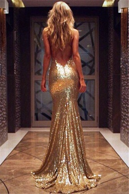 Deep V-neck Open Back Sexy Formal Evening Dresses  Mermaid Sequins Prom Dress BA3586_7