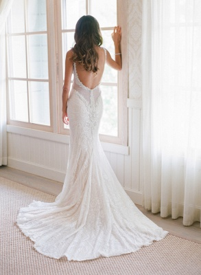 Elegant Mermaid Spaghetti Strapless Bridal Gown Lace Backless Trumpet Court Train Wedding Dress_3