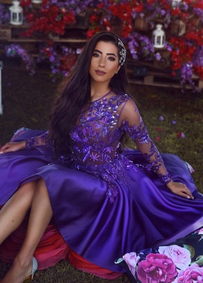 Beads Appliques Sheer Tulle Regency Homecoming Dress  | Long Sleeve Popular Short Evening Dress 2019_3